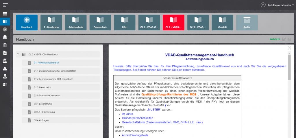 Browserbasierte Anwendung mit qoom Care